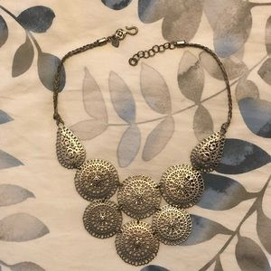 Stella & Dot Silver Medallion Statement Necklace
